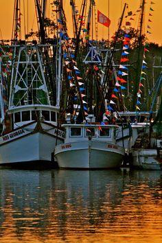 Shrimp boats docked on Shem Creek, Mt Pleasant, SC