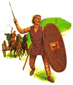 Celtic Britons with their hill-fort in the background. The Southern British warriors were essentially a close relation to the Belgae of north west Europe.With many tribes retaining close links with their Euro cousins. During Caesar's wars in Gaul many British warriors crossed the Channel to aid their relatives against the common foe.