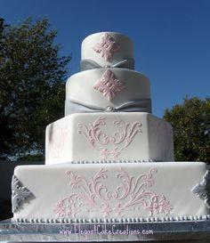 Pink & Grey Wedding Cake by Elegant Cake Creations AZ, via Flickr