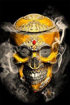 Handmade Diamond Embroidery New Diy Diamond Painting Gold Skull Pattern Cross Stitch Diamond Mosaic Needlework Home Decor Desenhos Halloween, The Crow, Badass Skulls, Totenkopf Tattoos, Mosaic Crosses, Skull Artwork, Skull Head, Skull Design, Skull Art