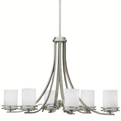 Kichler Hendrik 6 Light 36  Wide Chandelier with Satin Etched Glass Shades - Brushed Nickel