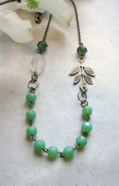 Mint green necklace Spring jewelry vintage style