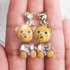 Teddy bear earrings front and back