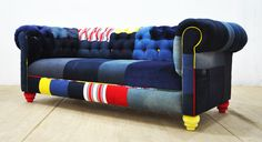 JEAN PATCH - denim chesterfield patchwork sofa by namedesignstudio on Etsy https://www.etsy.com/listing/273077264/jean-patch-denim-chesterfield-patchwork