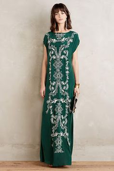 at anthropologie Emboridered Mara Maxi Dress Boho Fashion, Womens Fashion, Green Fashion, Vogue, Dress Me Up, Playing Dress Up, Formal Wear, Dress Skirt, Sheath Dress