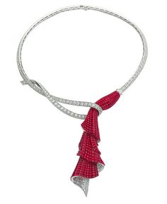 Van Cleef & Arpels ruby and diamond necklace seen at recent Paris exhibition