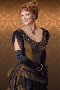 """A sexy Samantha Bond as Mrs Cheveley in the 2010 West End production of """"An Ideal Husband."""" You may recognize her from the TV drama """"Downton Abbey"""" as Lady Rosamund or the James Bond film """"The World is Not Enough"""" as Miss. Matthew Crawley, Downton Abbey Costumes, Downton Abbey Fashion, Samantha Bond, Julian Fellowes, Dowager Countess, British Actors, Costume Design, Vintage Fashion"""