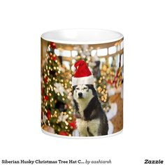 #Siberian Husky #Christmas Tree Hat #Coffee #Mug 11 oz #dog #pet #merrychristmas check out my store, new products added every minute #sale #offer