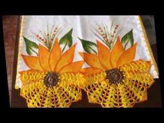 Pintura em tecido pano de prato com croche - YouTube