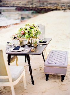 Table Decor Tip: Beach Reception #tablesetting #wedding #decor #ideas #details