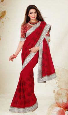 Red Embroidered Faux Georgette Saree Price: Usa Dollar $74, British UK Pound £44, Euro55, Canada CA$80 , Indian Rs3996.