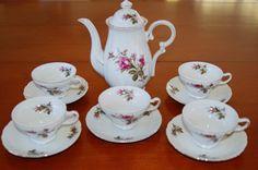 Vintage Moss Rose Porcelain Tea Set, Lipper & Mann Japan, Shabby Chic China, Tea Party