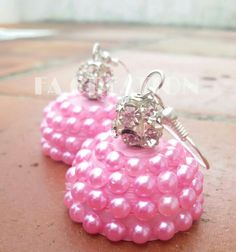 Quilled pearl finish jumka pink color quilled jumka