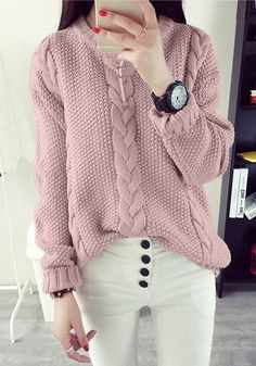 This pretty pink cable knit sweater is made of unlined, stretchable material and has crew neckline and classic braided knit detailing. Purchase one here. | Lookbook Store Sweaters