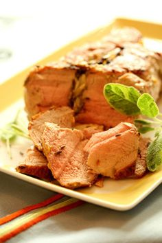 Roast Pork with Lavender and Sage -Pork loin is lean, tender, and easy to cook.  Because it's low in fat most people have tendency to overcook it, so I want to share how professional chefs deal with this problem. Plus, this dish is also delicious cold - so make a double portion for sandwiches or a quick dinner served with salad...