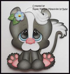 Baby Skunk Premade Paper Piecing Die Cut for Scrapbook Page byBabs Wood Yard Art, Baby Skunks, Baby Shower Labels, Scrapbook Images, Disney Cards, Free Adult Coloring Pages, Easter Art, Animal Projects, Scrapbook Paper Crafts