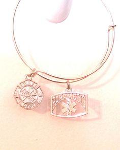 PARAMEDIC Firefighter Charm Bracelet Bangle Adjustable Jewelry Gift EMT Jewelry #handmade #Bangle
