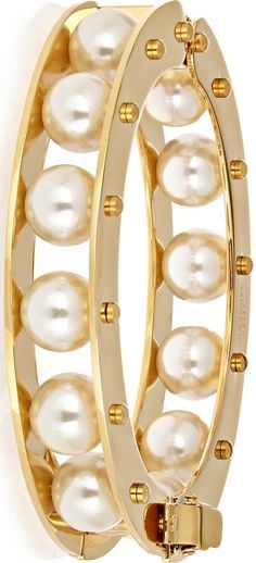 {Stone Round Slider gold-plated faux pearl bracelet by LELE SADOUGHI}