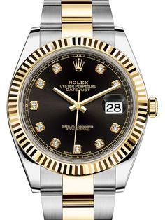 Rolex 126333 Black set with diamonds Datejust Yellow Rolesor New 2016. #rolex