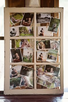 Old rustic window with engagement pictures in it for wedding decorations!