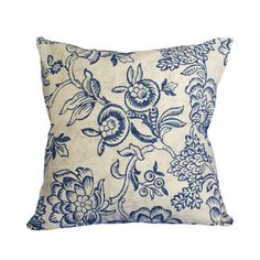 French Country Pillow Navy Blue Taupe Floral Pillow Cover Blue Flowers... ($19) ❤ liked on Polyvore featuring home, home decor, throw pillows, decorative pillows, home & living, home décor, silver, patterned throw pillows, floral toss pillows and floral throw pillows
