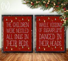 Christmas printable wall art, Twas the Night Before Christmas, holiday decor decoration digital typography print