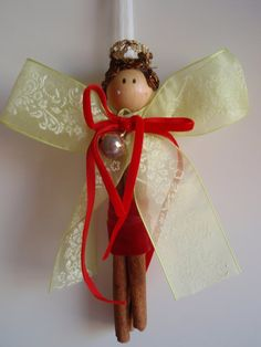 Christmas Angel Ornament Cinnamon by lallehandmade on Etsy Christmas Angel Ornaments, Christmas Mood, Christmas Items, Christmas Decorations, Diy Crafts For Gifts, Craft Stick Crafts, Decor Crafts, Holiday Crafts, Cinnamon Ornaments