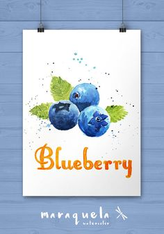 BLUEBERRY watercolor, original painting from Etsy seller Maraquela. #blueberryetsy. Discover all things blueberry at Blueberry-Buzz.com.