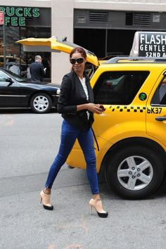 Jessica White is all smiles as she signs autographs and jumps into a cab in New York City.