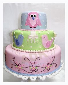 Owl Cake and birds, I love the bottom tier of this cake!!!