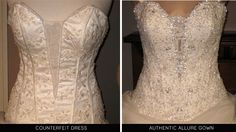 The risk of buying designer dresses at too-good-to-be-true prices. This is a great article and has a link to an entire list of websites known to sell low quality knockoffs. Wedding Dresses From China, Lace Wedding Dress, Cheap Wedding Dress, Allure Wedding Gowns, Wedding Gowns Online, Designer Gowns, Designer Wedding Dresses, Prom Dresses, Formal Dresses