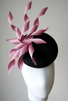 Multi spiral trimmed button hat by Esther Louise Millinery