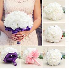 Bouquet Bianco Rose Rosa Schiuma Strass Fiori Matrimoni Sposa Damigella Decora