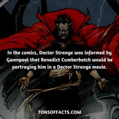 In the comics, Doctor Strange was informed by Gwenpool that Benedict Cumberbatch would be portraying him in a Doctor Strange movie. #doctorstrange #tvshow #theavengers #comics #marvelcomics #interesting #fact #facts #trivia #superheroes #memes #1 #movies