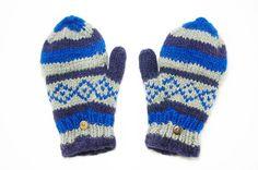 限量一件手織純羊毛保暖手套 / 可拆卸手套 - 藍色幾何圖騰 - omhandmade | Pinkoi