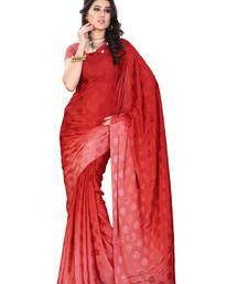 Buy Red Printed jacquard saree with blouse jacquard-saree online