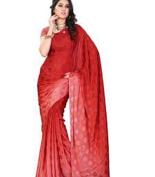 Buy Red Printed jacquard saree with blouse jacquard-saree online