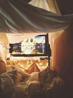 Perfect date idea inside. Love little blanket forts to cuddle up in and watch some movies.