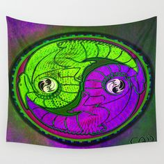 Yin - Yang Equality Dragons Fractal Repeating Pattern Psychedelic Optical Illusion Design #2 Wall Tapestry
