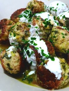 Lemony leek meatballs with tahini yoghurt lemon sauce