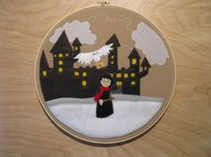 Harry, Hedwig and Hogwarts embroidery by benrum on etsy