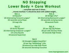no stopping lower body + core workout!