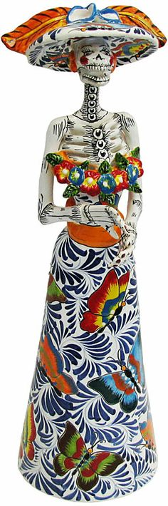 Talavera Day of the Dead - Catrina in Butterfly Dress