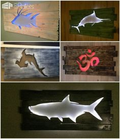 Beautiful Backlit Pallet Wall Art! I take used but beautiful pallets and turn them into the wall hanging art with multiple paints and stains and feature center cut out designs and then finish with LED accent lighting. http://www.1001pallets.com/2016/09/beautiful-backlit-pallet-wall-art