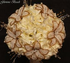 Amazon.com: Ivory and Gold Beaded Lily Wedding Flower 17 piece set with Ivory Roses ~ Unique French beaded flowers and beaded sprays: Handmade