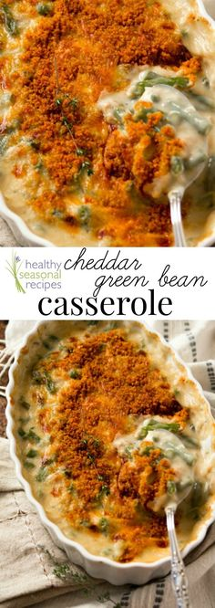 Blog post at Healthy Seasonal Recipes : This cheddar green bean casserole is a from-scratch version of the classic. Perfect for Thanksgiving or your holiday meal. And it's vegetari[..]
