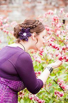 Wedding Fascinator ( Choose Colour) : Bridal Fascinator Silk Kanzashi Flower in Violet Silk - Wedding - Accessories - Hair Flower