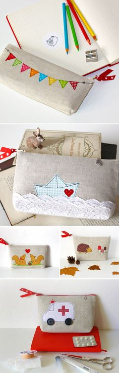 Beautiful #applique pouches, perfect little customized #sewing project.