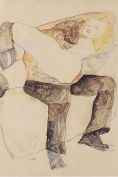 Man , Woman on his Knees - Egon Schiele 1911 Austrian 1890-1918 Pencil, watercolour en gouache on paper