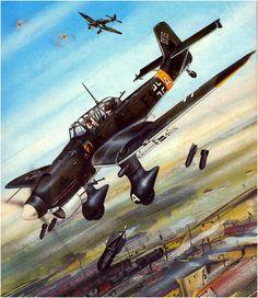 Junkers Ju-87 Stuka del StG. 77 soltando su mortifera carga. Martinek, Vít